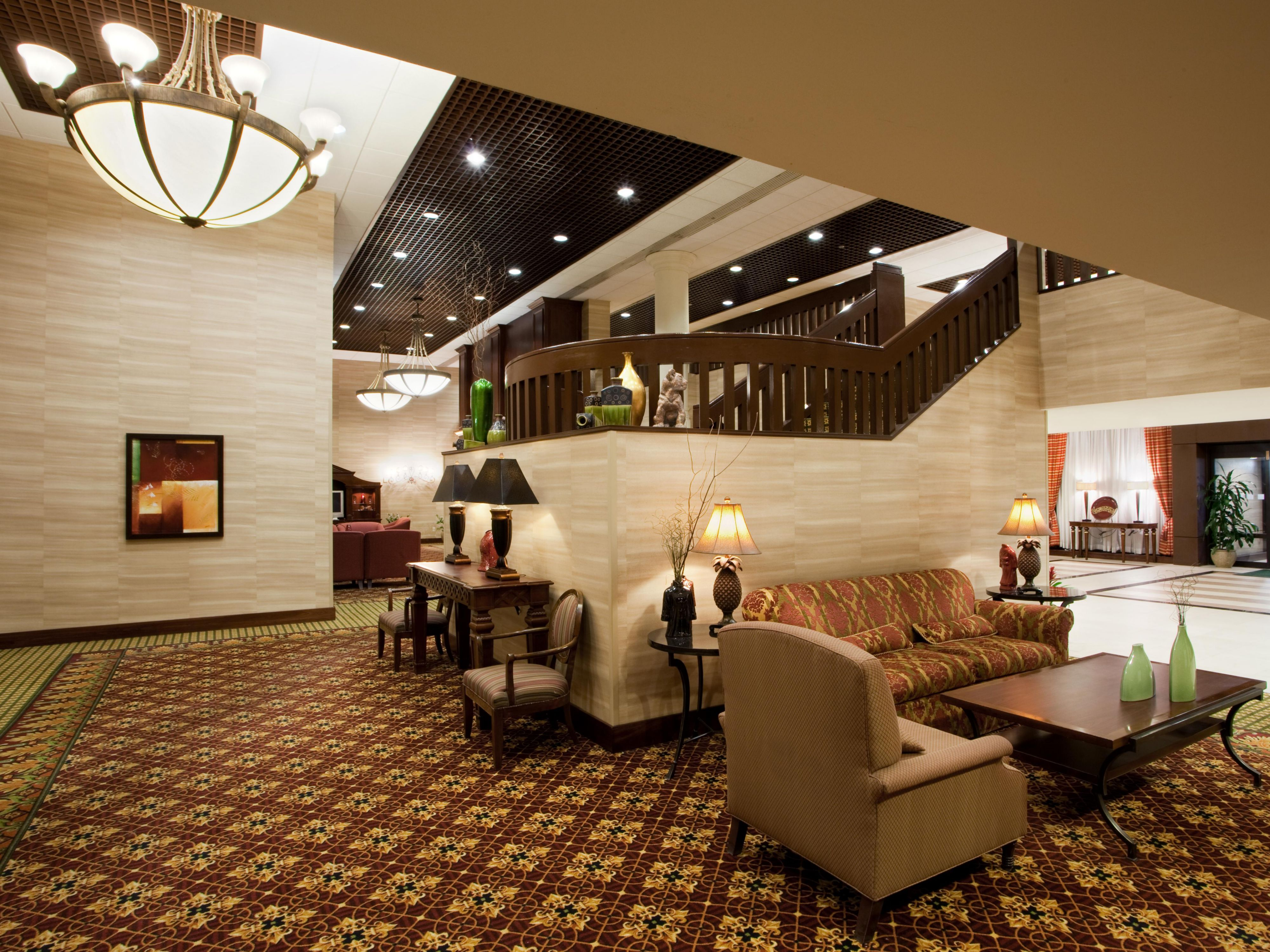 Our spacious hotel lobby offers ample seating for our guests