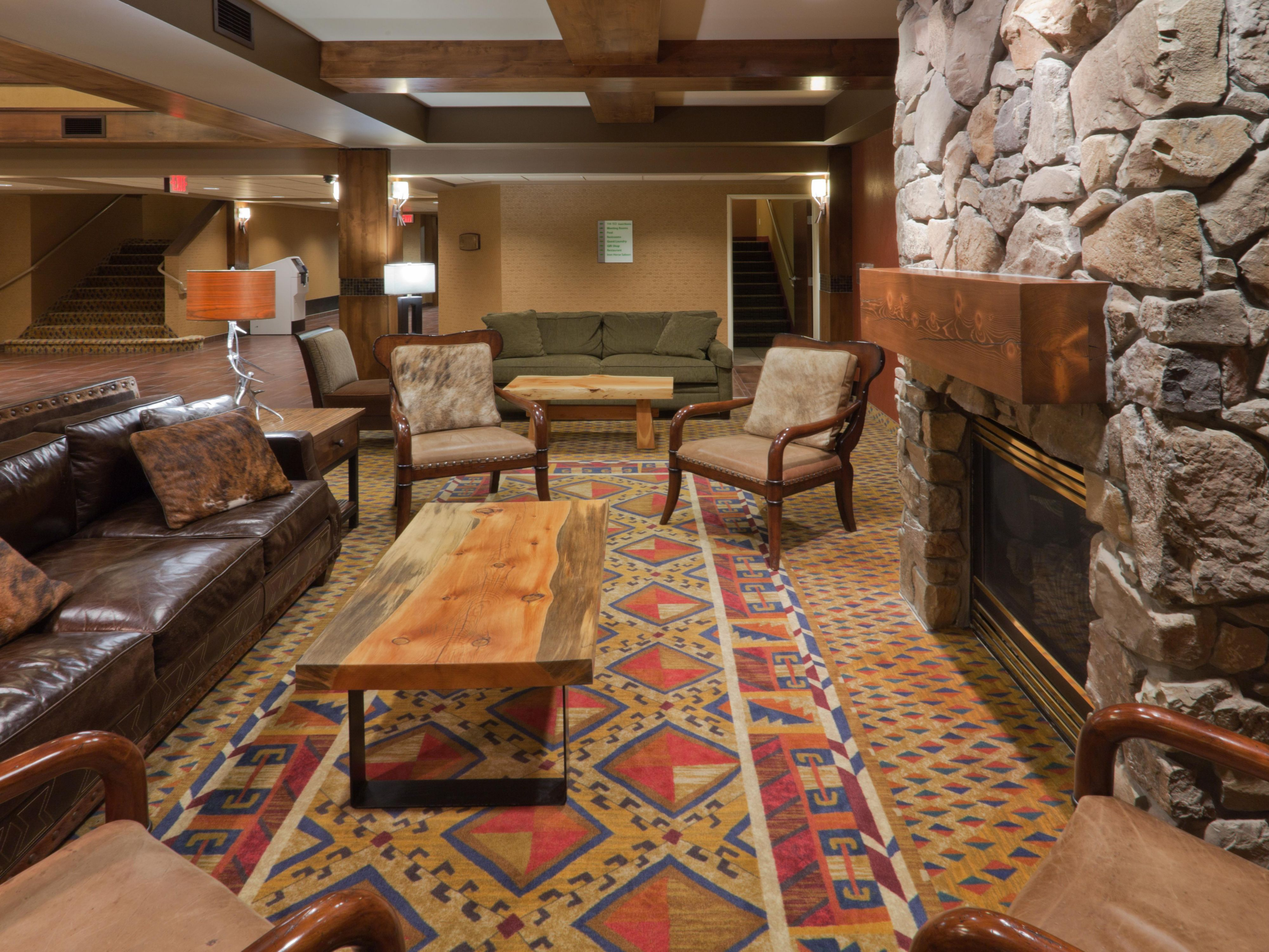 Holiday Inn West Yellowstone's cozy lobby fireplace