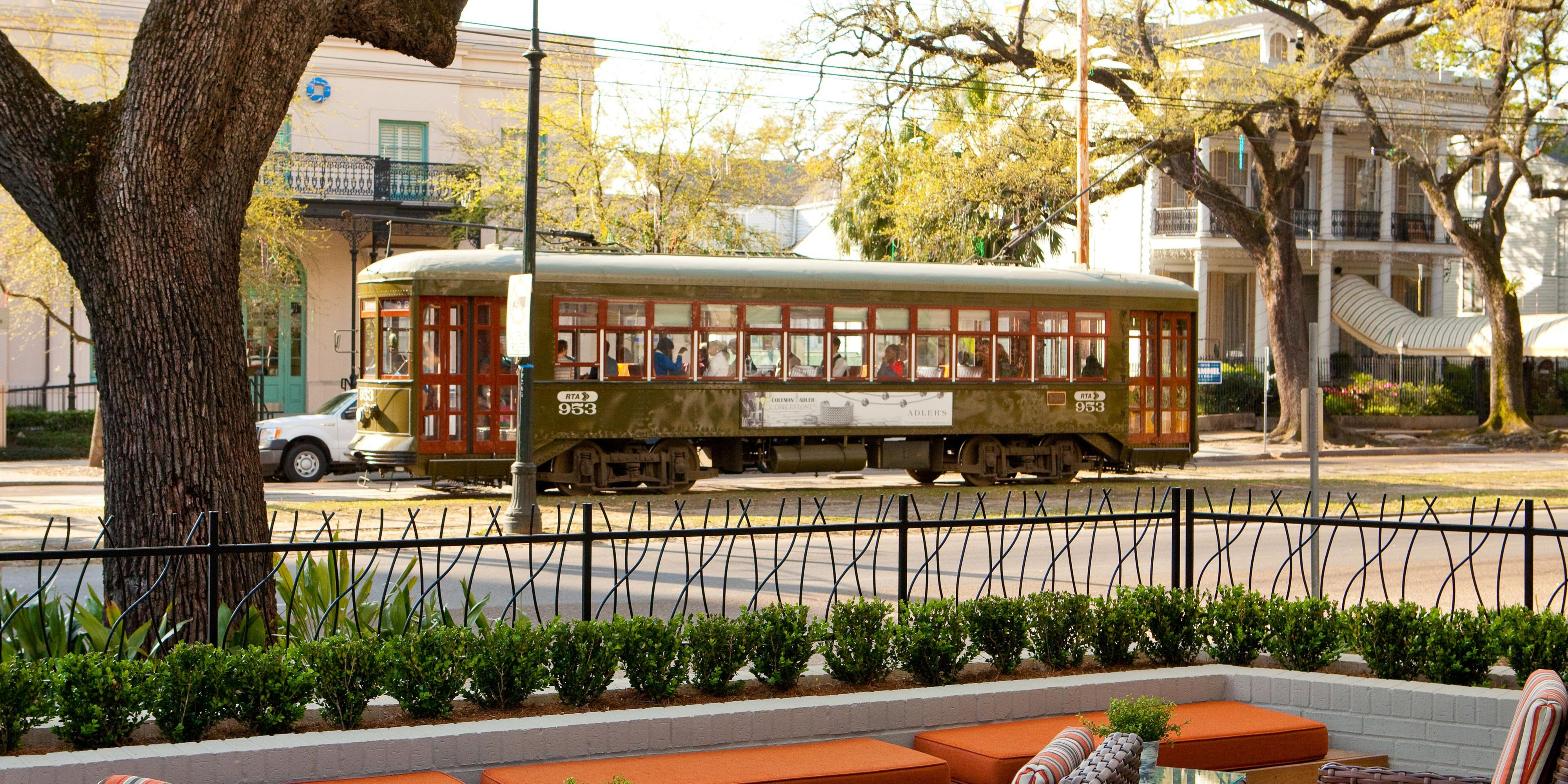 St. Charles Avenue Streetcar; Outdoor Seating Near Our Relaxing Water  Feature; Front Desk Hotel Indigo New Orleans Garden District ...