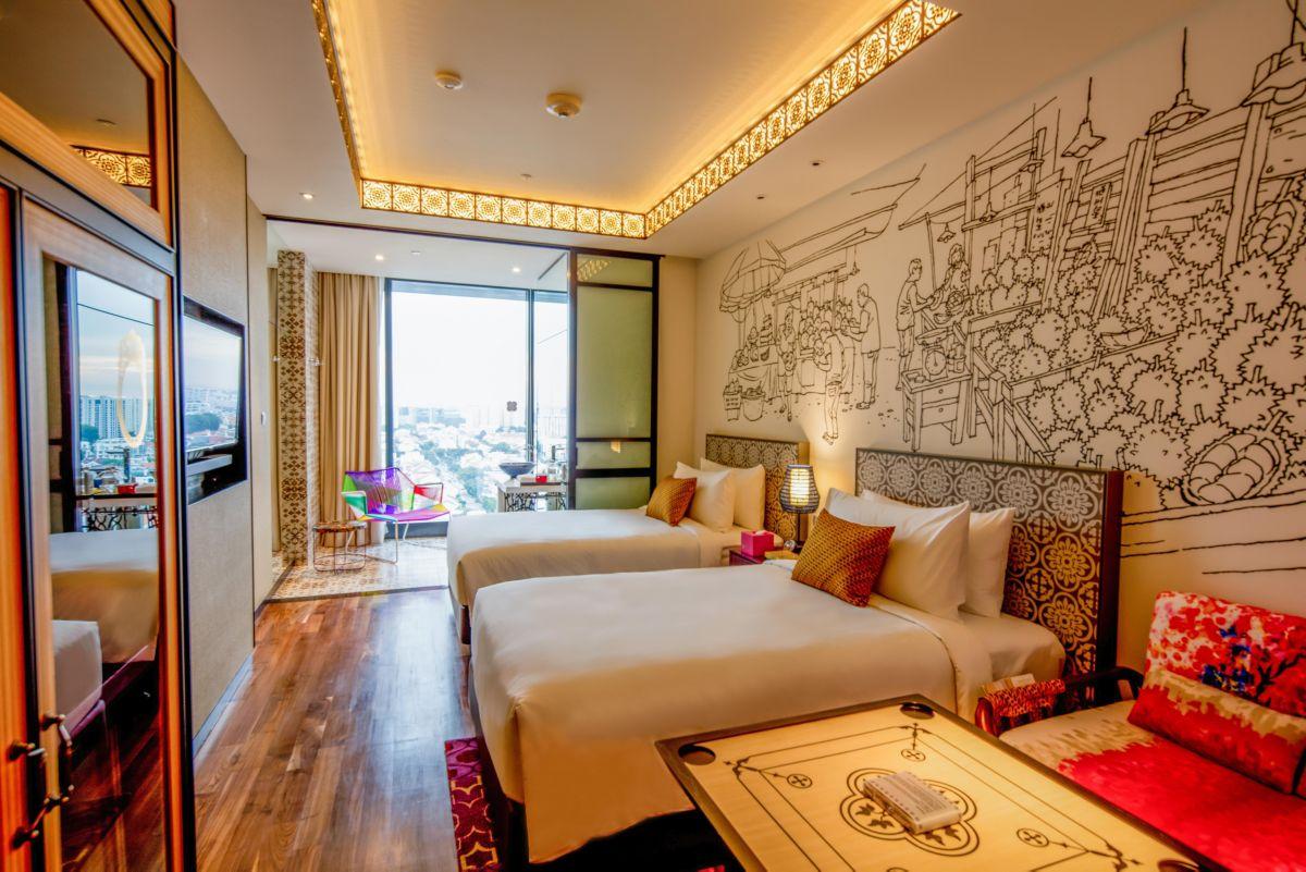 Guestroom features modern Peranakan design (Twin Beds)