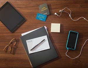 Personal belongings on table